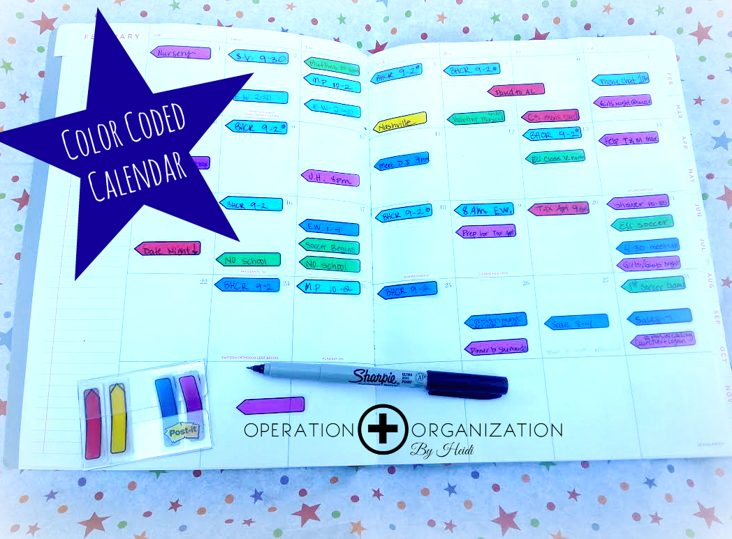Professional Organizer in Peachtree City, Georgia shows how to Organize & Color Code your Planner or Calendar with POST-IT flags!  www.operationorganizationbyheidi.com