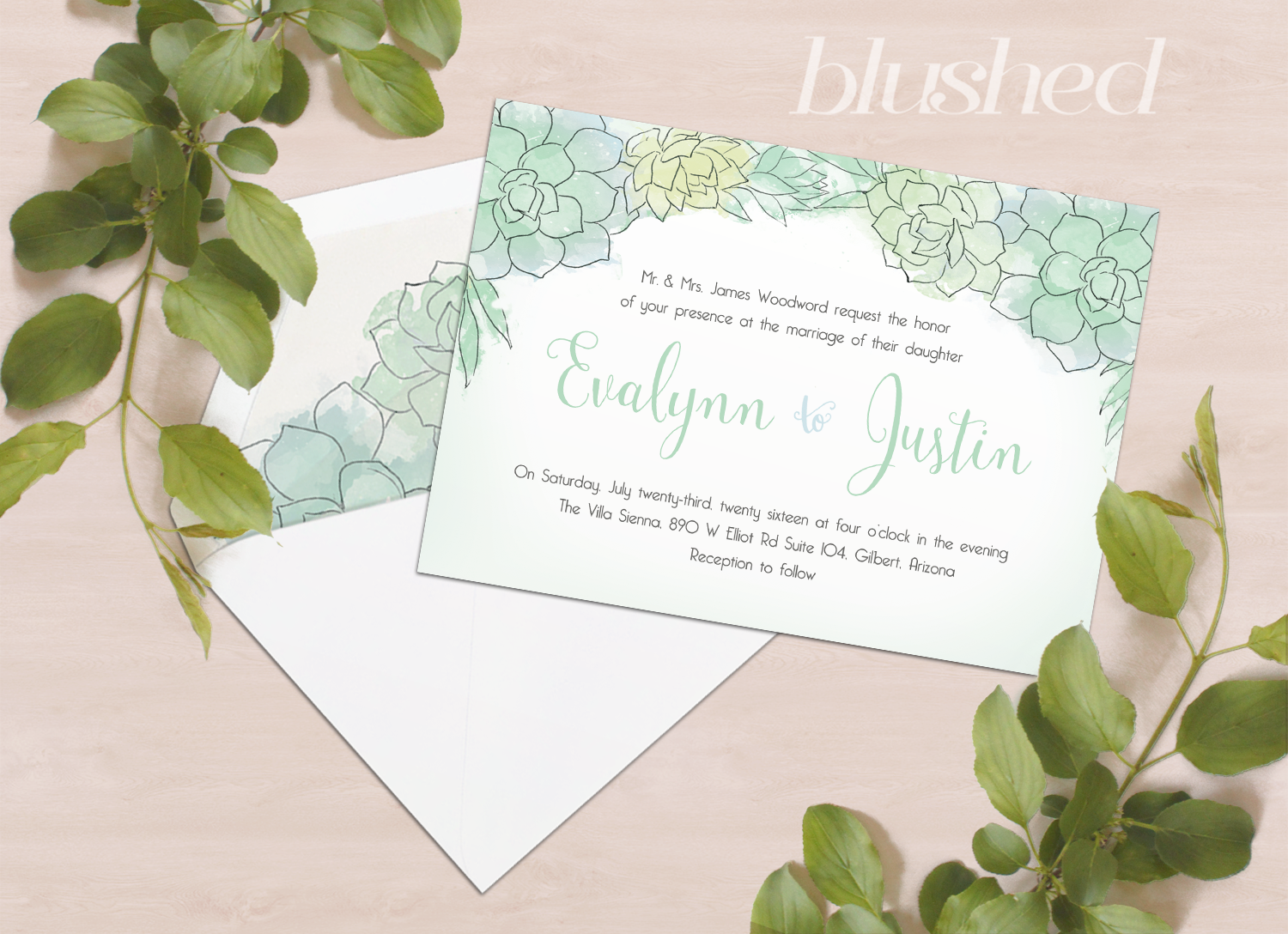 succulent wedding invitations. white and brown colored succulent, Wedding invitations