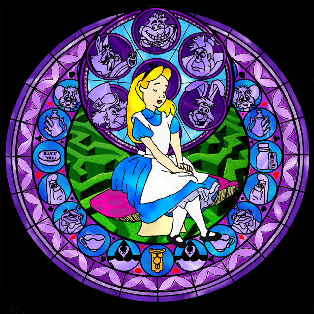 down the rabbit hole disney themed stained glass. Black Bedroom Furniture Sets. Home Design Ideas