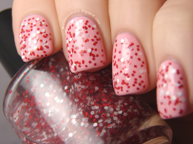 nails nailart nail art polish mani manicure Spellbound Lacquer Candy Coated Collection Candyland Candy Land Peppermint Pinwheels red white hex square glitter indie Sally Hansen Pink Blink Emerald City pink green Valentine's Day holiday Christmas