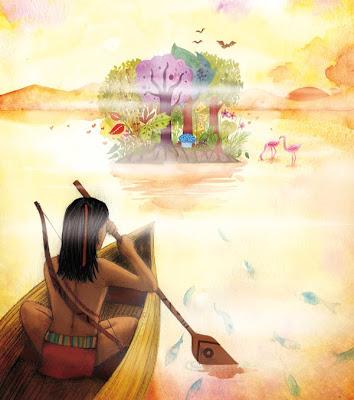 un jeune garçon se dirige vers une île en pirogue