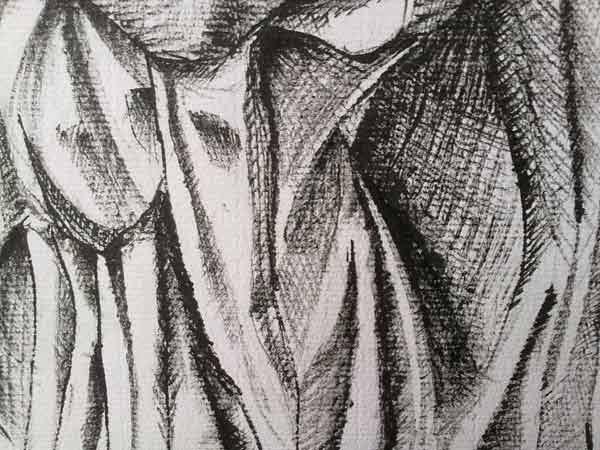 pliegues de tela con entramado de tinta