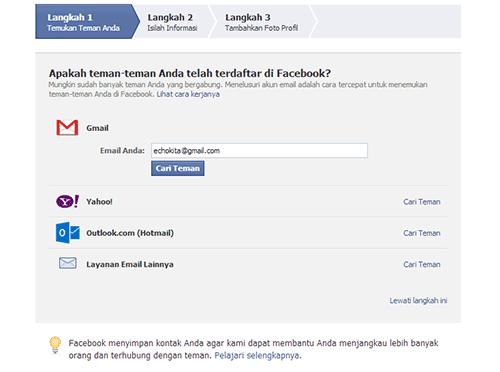 mendaftar di facebook dengan gambar