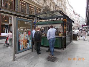 """""""Hot Dog Cafeteria"""" on Stephansplatz street in Vienna."""