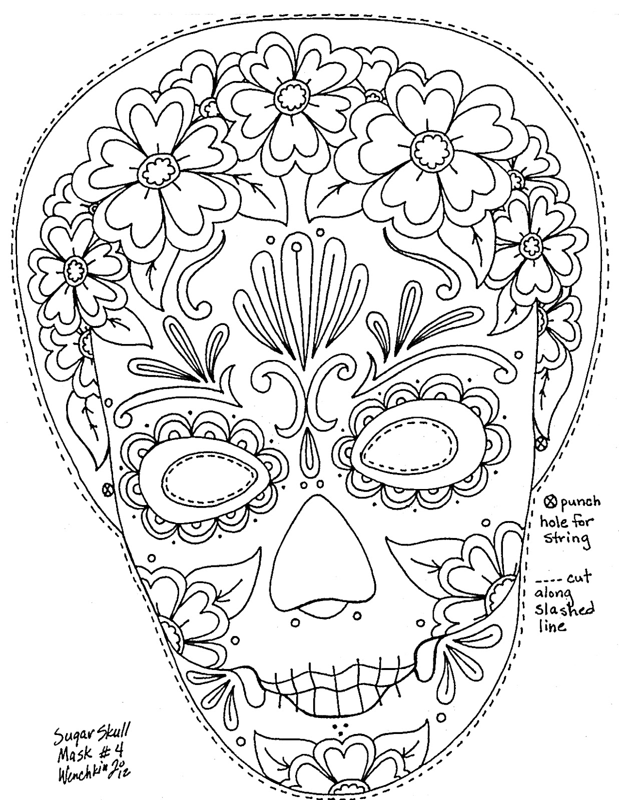 Sugar Skull Coloring Pages Printable Book Pictures