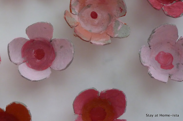 Colorful cherry blossoms made form an egg carton