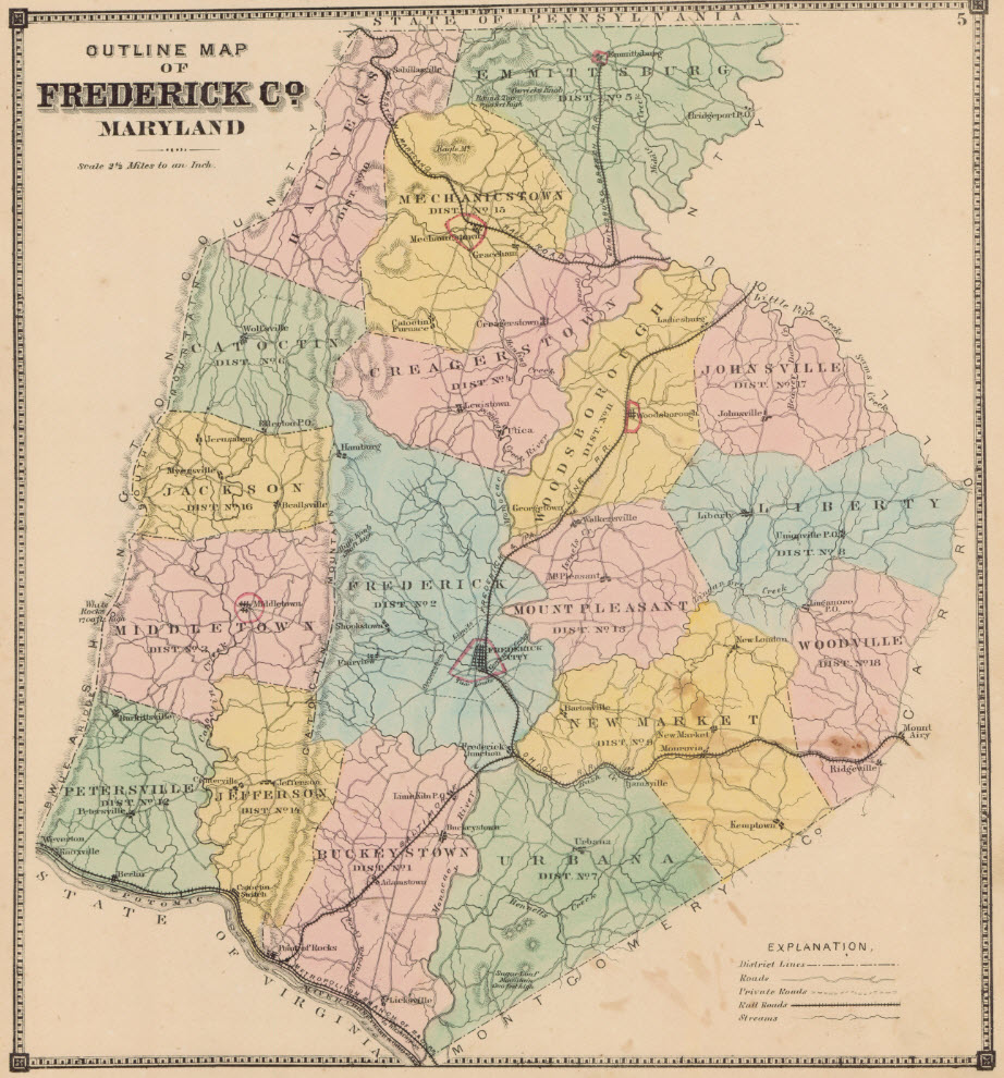 outline of frederick county and election districts from titus atlas