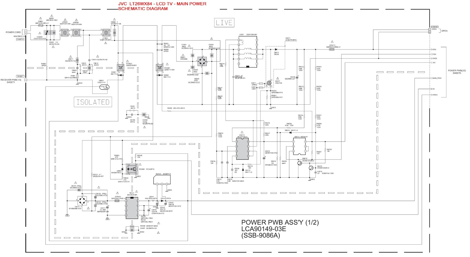 Jvc Lt 26wx84 Lcd Tv Main Power Supply Schematic Diagram Circuit Of 1 2 Click On Image To Enlarge