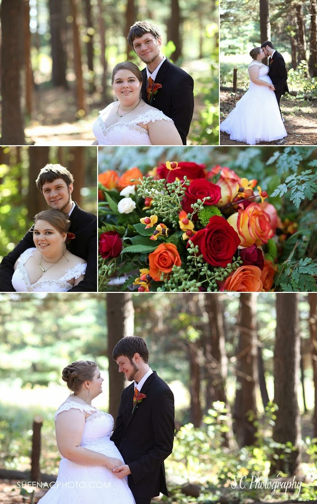 fall wedding in the woods, plus size bride, red and orange wedding flowers.