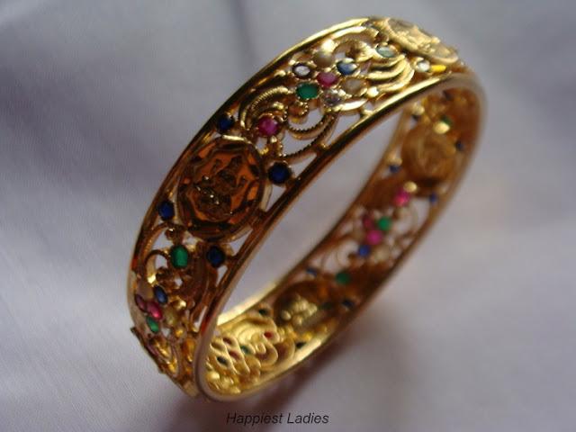 Multi colored stone in Gold Bangle+stone jewelry