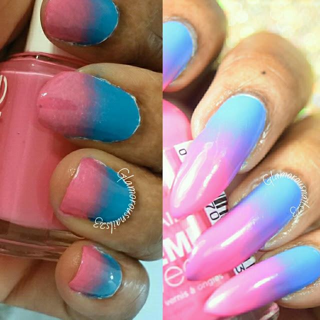 Pink & Blue Gradient Nail Art