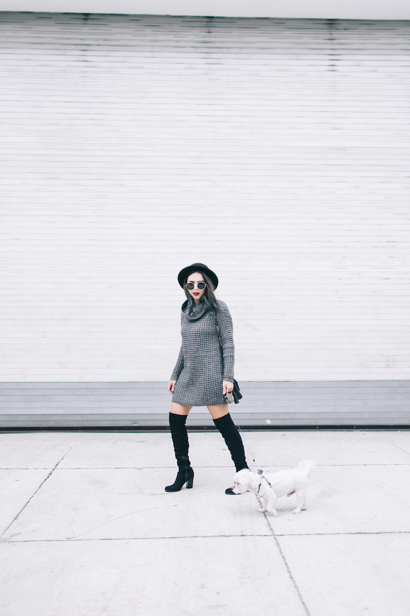 miami winter, fall fashion, sweater weather, guess, sweater dress, outfit formula, henri bendel, forever 21, round sunglasses, miami fashion blogger, nany's klozet,