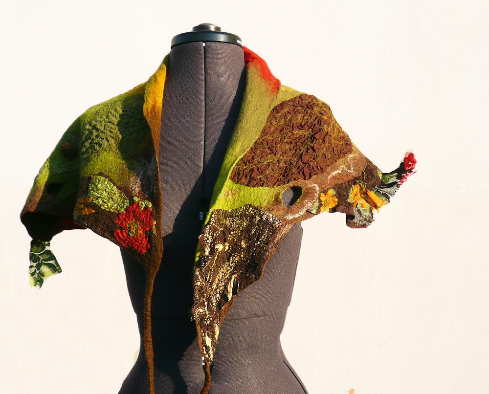 janebofelt wool scarf fall colors nuno felted шарф
