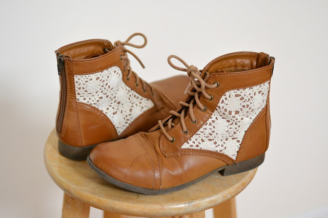 brown boots with lace