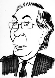 Mervyn King caricature by Ian Davy Brown