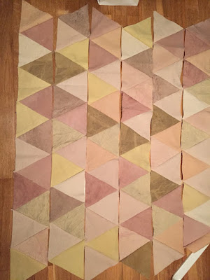 natural dyed fabric triangle quilt