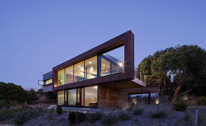 Hermosa fachada de dos pisos de casa moderna car for Casas modernas de 5 pisos
