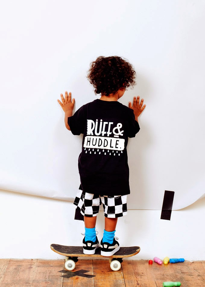 Baggy checker shorts and label tee by Ruff and Huddle for spring 2014