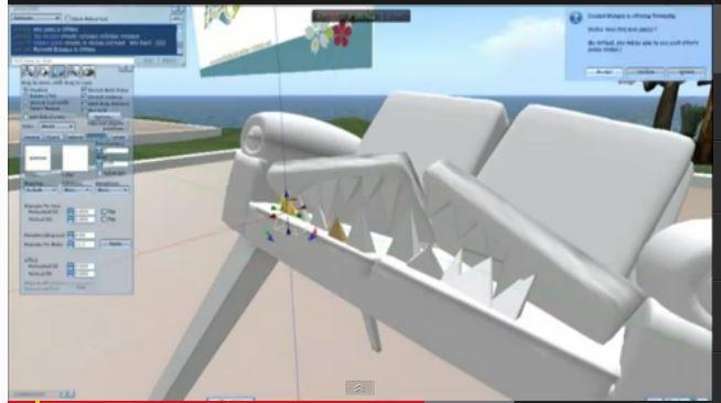un canapé construit sur la plateforme opensim monde virtuel