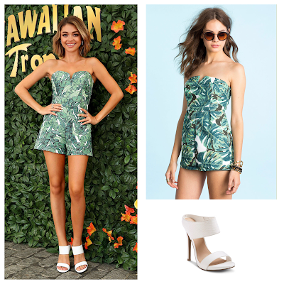 Sarah Hyland at the Hawaiian Tropic Event in H&M Romper and Stuart Weitzman MySlide Mules