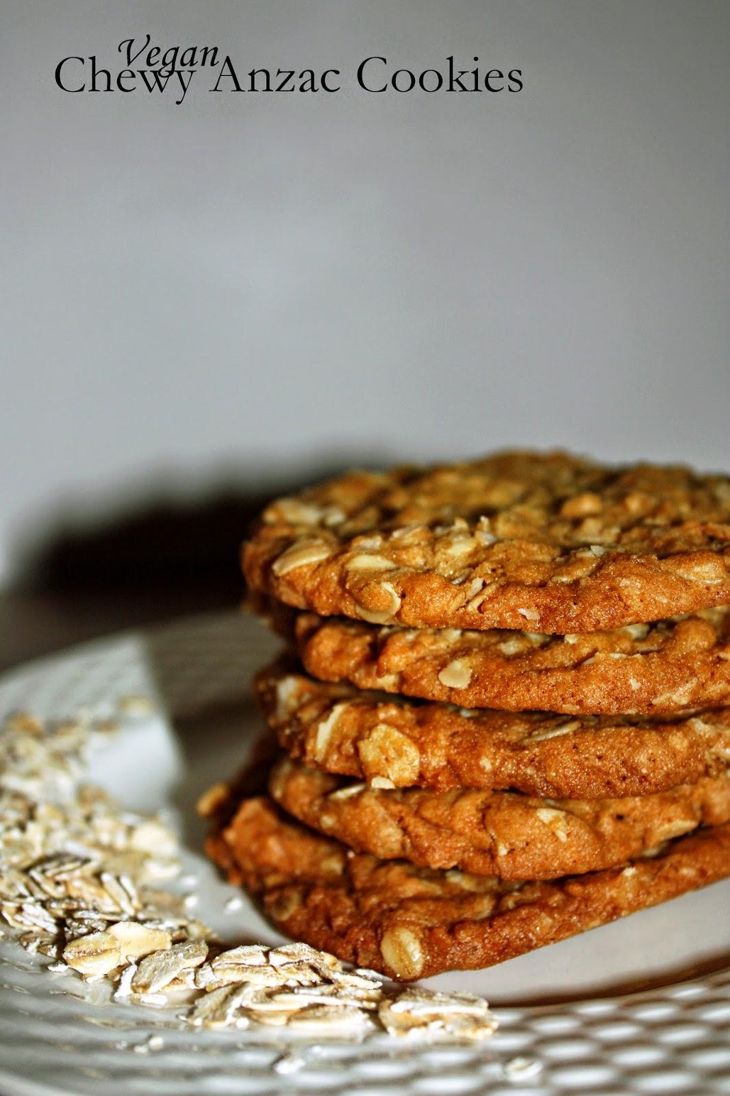 vegan chewy anzac cookies