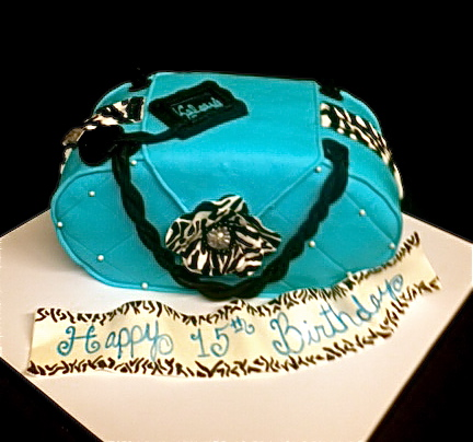 Sweet Ts Cake Design Zebra Caribbean Blue 3D sculpted Purse Cake
