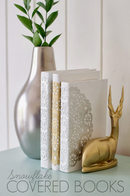 How to make DIY snowflake books using white paint and doilies! LOVE this!