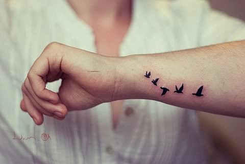 Small Bird Tattoo On Wrist