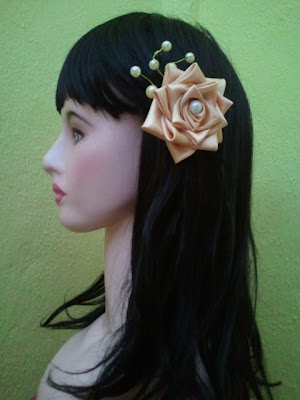 rose, tsumami kanzashi, hair clip, hand made