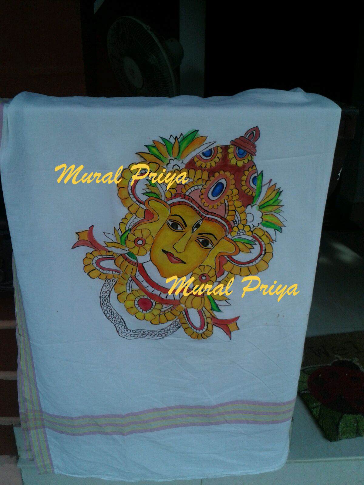 Pics for kerala mural painting on fabric for Aithihya mural painting fabrics