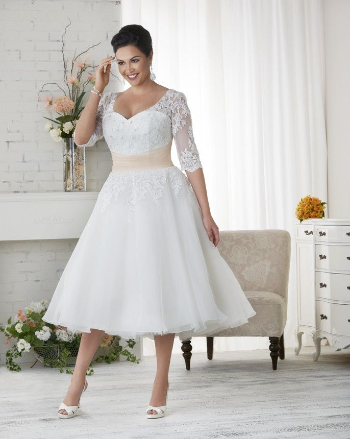 Curvy Sleeves Obsessed Over Plus Size Bridal Gown | Prom gowns and ...