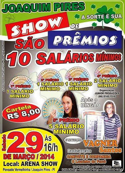 Bingo Joaquim Pires Show de prêmios traz atração Piauiense