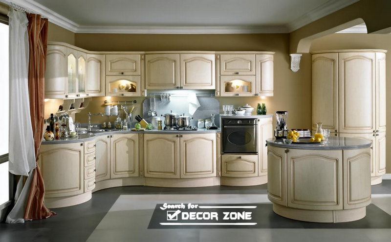 Classic Kitchen Cabinets beige kitchen cabinets. dark blue cabinets white solid countertop