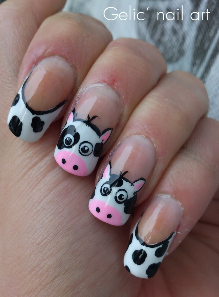 Gelic Nail Art Cow Funky French Nail Art For The Netherlands