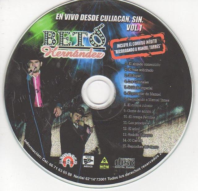 Beto Hernandez En Vivo Desde Culiacan Sin, Vol. I CD Album