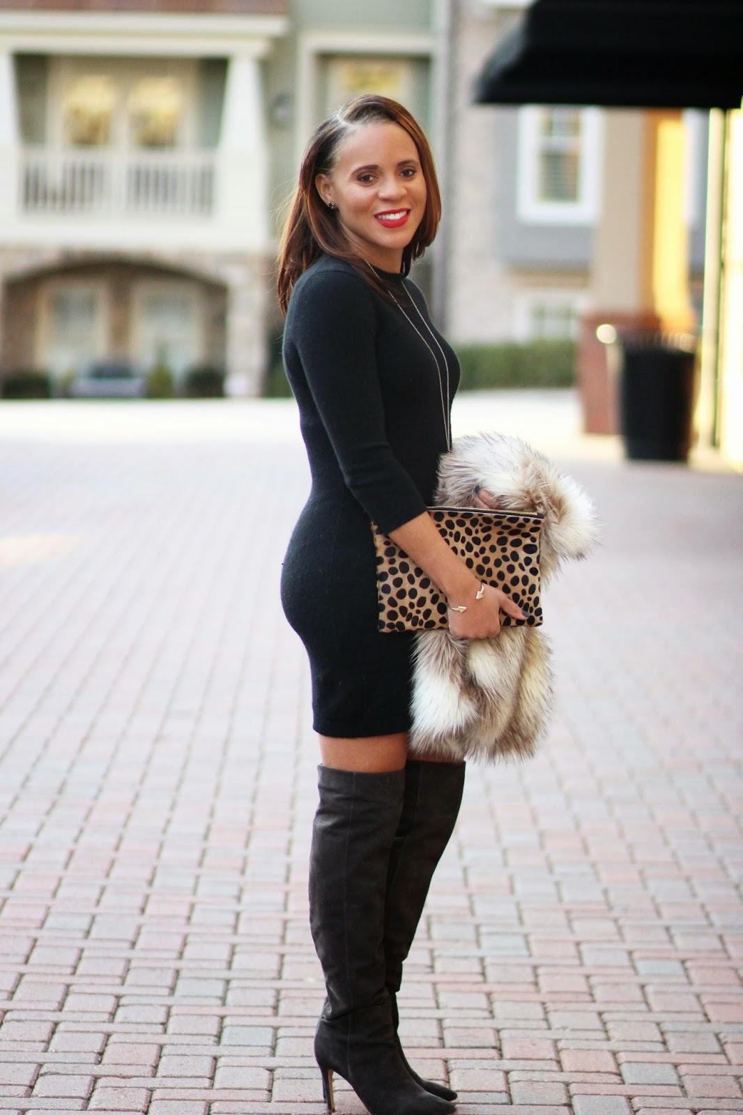 black-dress-fur-vest