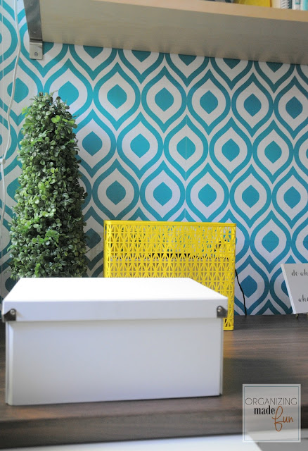 Pops of turquoise wallpaper in the home office with pretty office supplies :: OrganizingMadeFun.com