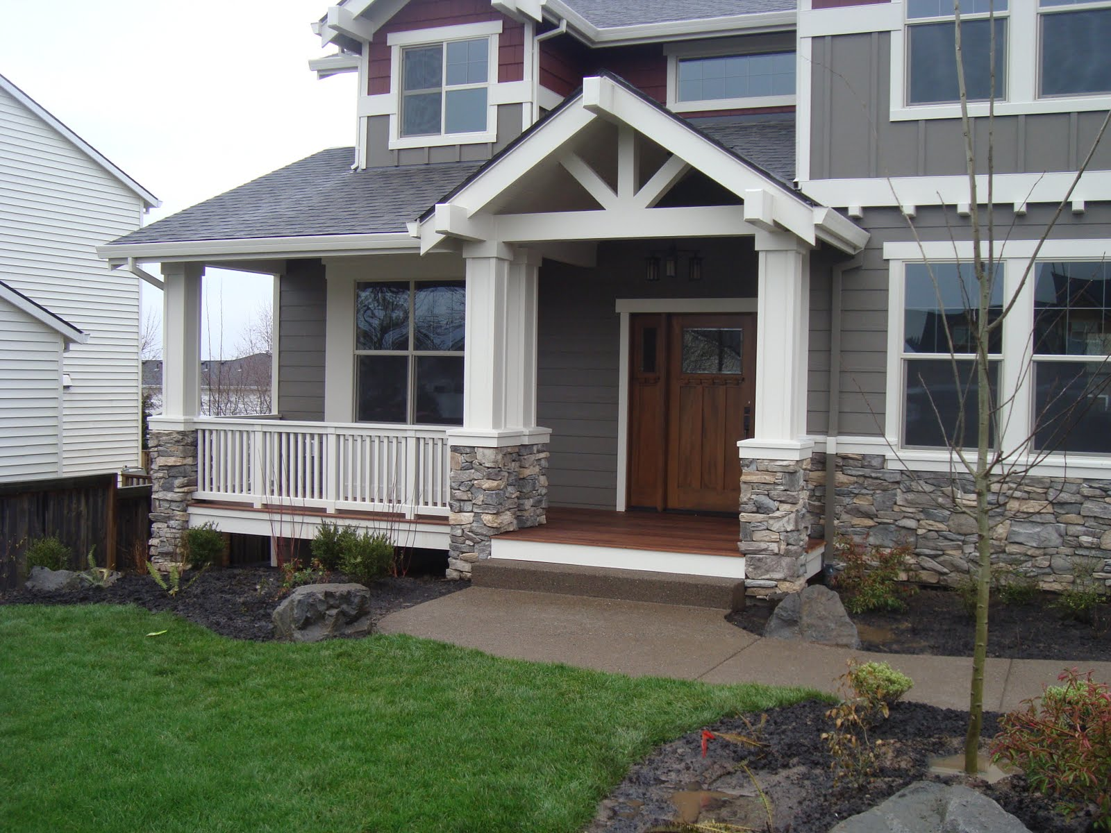 Halgren construction exterior stone veneer and deck Houses with stone facade