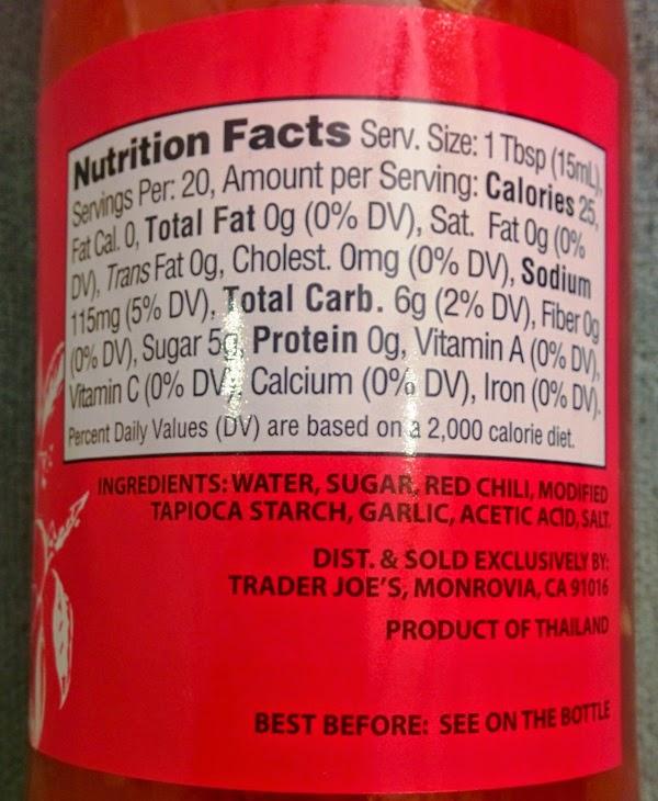Trader Joe's Nutrition Labels: Trader Joe's Sweet Chili Sauce