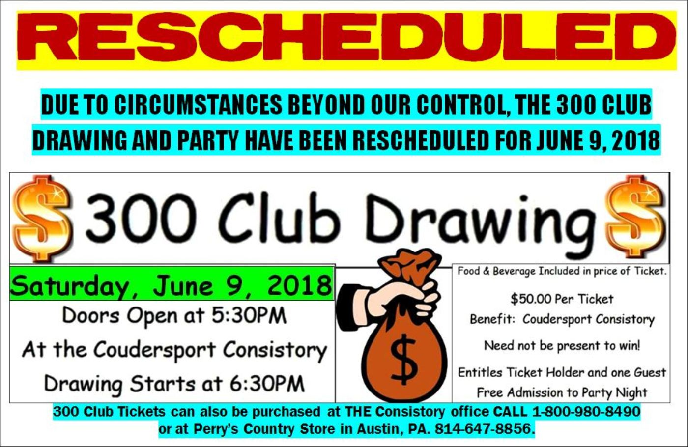 Coudersport Consistory 300 Club Rescheduled