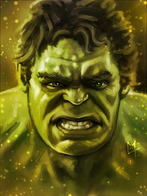 Portrait de Hulk pas content