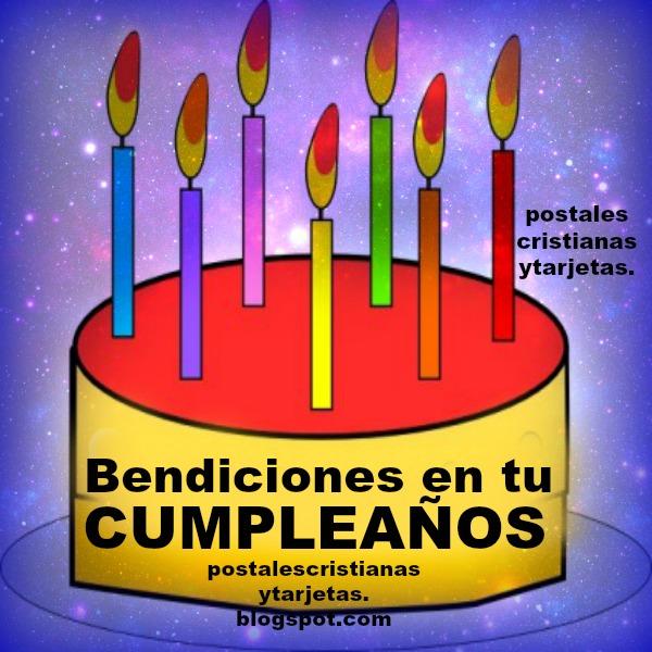 Tarjeta Bendiciones en tu Cumpleaños por Mery Bracho. Postal con felicitación por el cumple, frases en celebración de cumpleaños cristiano.