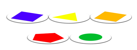 Make thirty-three Drogna from any three of a blue square, yellow triangle, orange square, red pentagon or a green circle.