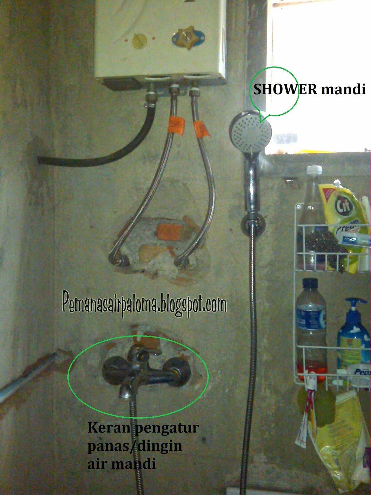 cara pemasangan pemanas air keran diletakan sejajar dibawah heater