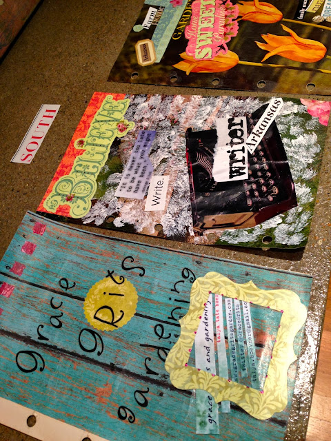 Altered book project - pages drying