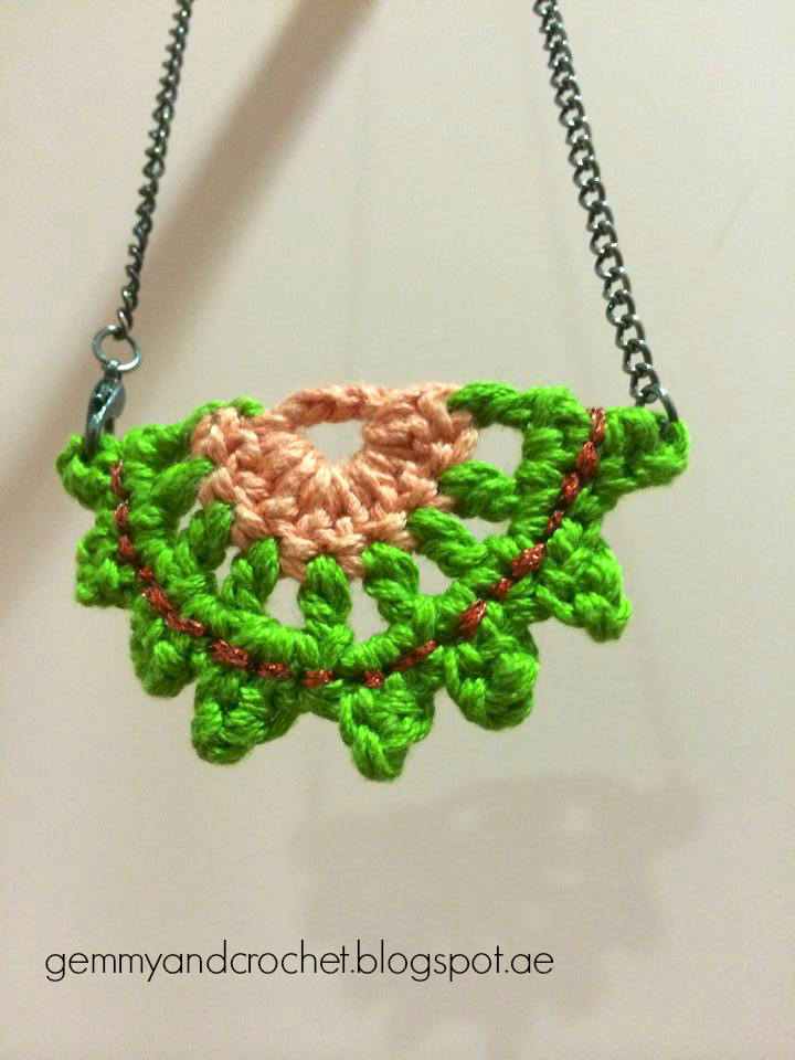Crochet half moon pendant, crochet necklace