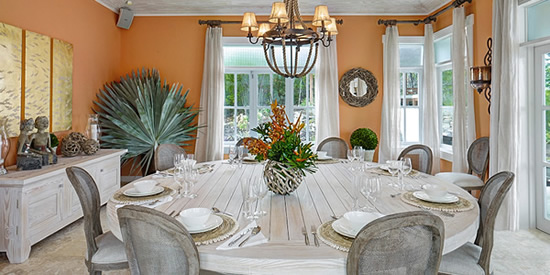 The dining room of this luxury Bequia property