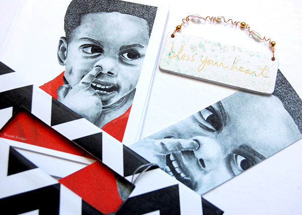 Red Boy 1 from The True Colors Collection by Noami Foster bookmark notecard and chevron pattern gift bag with bless your heart sticker