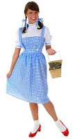 grown woman in realistic Dorothy dress, with slightly shorted skirt