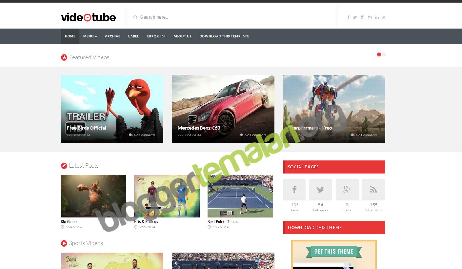 VideoTube Blogger Temaları